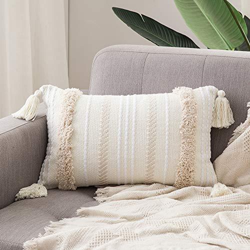 MIULEE 1 Stück Dekorative Kissenbezug Baumwolle Dekokissen Boho Super Weich Kissenbezüge Quaste Decor Kissenhülle für Sofa Couch Schlafzimmer Wohnzimmer Auto 12X20inch 30x50cm