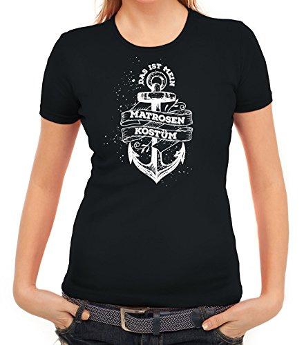 men T-Shirt mit Das ist mein Matrosen Kostüm 1 Motiv von ShirtStreet, Größe: L,schwarz (Seemann-kostüm Für Frauen)