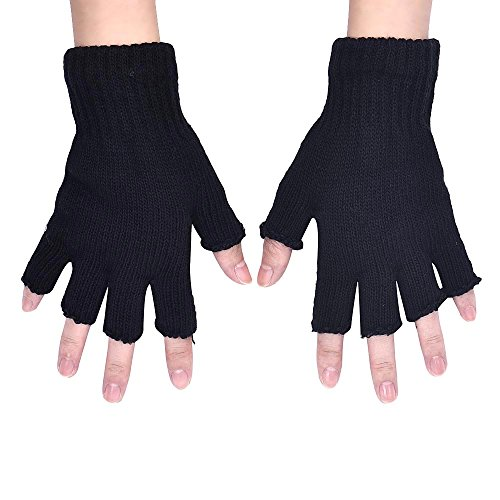 Kanpola Damen Handschuhe Gestrickte Stretch elastische warme halbe Finger fingerlose Handschuhe (Stricken Fingerlose Handschuhe)