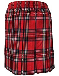 Islander Fashions Womens Box Falda con Estampado de tartn Plateado Falda Larga con elstico de Nias