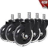 Anyke Flüsterleise Bürostuhlrollen Premium Hartbodenrollen für Alle Fußböden geeignet 5 Stück (11mmX22mm)