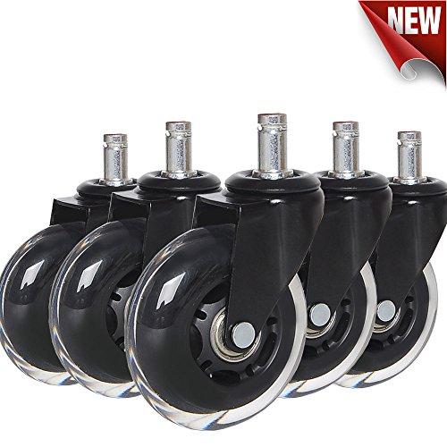 Anyke ruote girevoli per sedia di ufficio rotelle di ricambio per proteggere pavimenti in legno duro set di 5 (3 pollici 11x22mm)