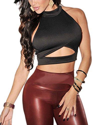 Toocool - Top donna corto geometrico schiena nuda party nuovo sexy DL-1252[NERO,Taglia unica]