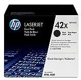 HP 42X 2er-Pack (Q5942XD) Schwarz Original Toner mit hoher Reichweite für HP Laserjet 4200, 4250, 4350