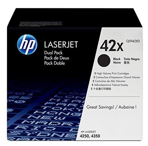 42 X Laserjet (HP 42X 2er-Pack (Q5942XD) Schwarz Original Toner mit hoher Reichweite für HP Laserjet 4200, 4250, 4350)