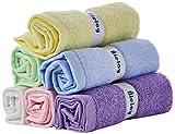 Bielay, Set di 6 Asciugamani per Bambini, Multicolore, 25 x 25 cm Ognuno, Morbidissimi, Super-Assorbenti, in Bambù al 100%