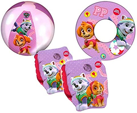 Paw Patrol Girls Pink Kids Inflatable Armbands Swim Ring and Beach Ball Swimming Pool Beach Floats