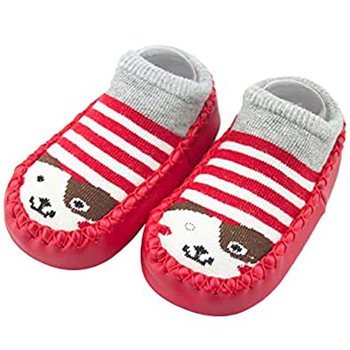 Bold N Elegant Baby Girl Boy Colorful Shoe Socks with Rubber Sole Infant Newborn Kids Floor Socks Shoes Anti Slip Bootie Moccasins (1 Year (13 cm), Red)