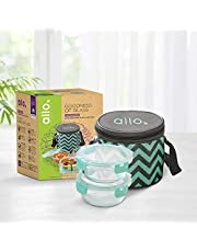 Allo FoodSafe Microwave Safe Glass Lunch Box with Break Free Detachable Lock   450°C Oven Safe High Borosilicate   Office Tiffin with Chevron Mint Bag   Set of 2