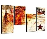 Hip und Modern Wandbild mit Stern - 130x70cm 4 teiliges Keilrahmenbild (30x70+30x50+30x50+30x70cm)...