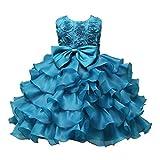 ❤️Kobay Kinder Baby Mädchen Blumen Geburtstag Hochzeit Brautjungfer-Festzug Prinzessin Abendkleid (130/6-7Jahr, Hellblau)