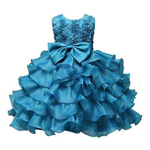 ❤️Kobay Kinder Baby Mädchen Blumen Geburtstag Hochzeit Brautjungfer-Festzug Prinzessin Abendkleid (150/9-10Jahr, Hellblau)