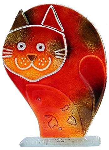 Fused Glass Cool Cats Collection - Casey Cat in tabby colour (Small)