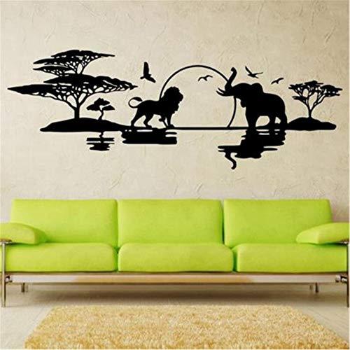 Hlfymx Diseño De Arte Skyline Decoración Para El Hogar Vinilo Elefantes Leones...