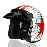Woljay 3/4 Offener Sturzhelm, Helmet Motorrad-Helm Jet-Helm Scooter-Helm Vespa-Helm Halbhelme Adult Helm Flat mit Rebellen Rot Star Graphic (XL)