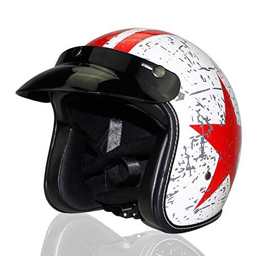 Woljay 3/4 Offener Sturzhelm, Helmet Motorrad-Helm Jet-Helm Scooter-Helm Vespa-Helm Halbhelme Adult Helm Flat mit Rebellen Rot Star Graphic (L)