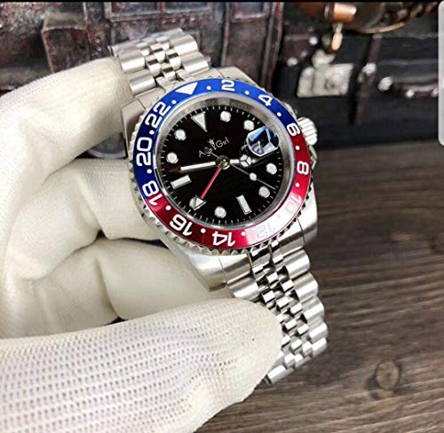 Iwhsb orologi da polso automatici di marca orologi meccanici automatici orologio da parete in vetro zaffiro in acciaio inossidabile con quadrante nero in ceramica