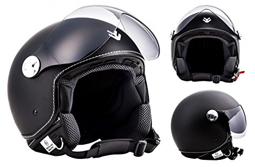 ARROW AV-84 Matt Black · Retro Jet-Helm Cruiser Vespa-Helm Pilot Motorrad-Helm Chopper Roller-Helm Vintage Scooter-Helm Biker Mofa Bobber Helmet · ECE zertifiziert · inkl. Sonnenvisier · inkl. Stofftragetasche · Schwarz · XXL (63-64cm)