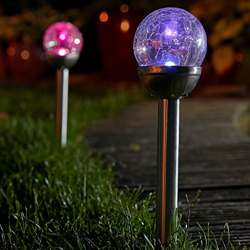 Auraglow Set of 6 Solar Mosaic Post Lights Outdoor Garden LED Path Crackle Globes - Colour Changing