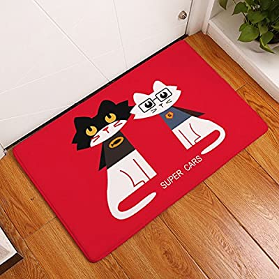 YJ Bear Cartoon Cat Print Non Slip Floor Mat Coral Fleece Home Decor Carpet Indoor Outdoor Area Rug Rectangle Doormat Kitchen Floor Runner - low-cost UK light store.