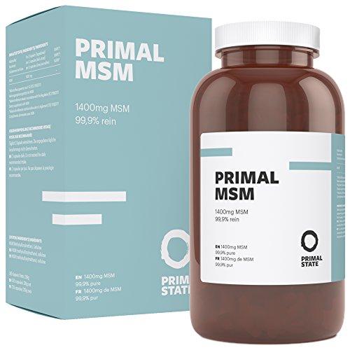 MSM Kapseln hochdosiert vegan | PRIMAL MSM | 99,9% reines Premium MSM | mit 1400 mg MSM (Methylsulfonylmethan) | 6 Monatsvorrat | Frei von Gentechnik | Laborgeprüft - 365 Kapseln