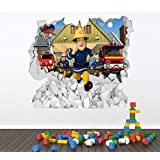 FIREMAN SAM FULL COLOUR WALL STICKER - GIRLS BOYS BEDROOM C344 Size: Large