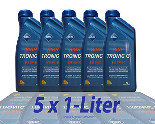 5x1 liter Aral High Tronic G 5W-30 Motoröl ACEA C3 API SM/CF MB-Freigabe 229.31/ 229.51 Dexos 2