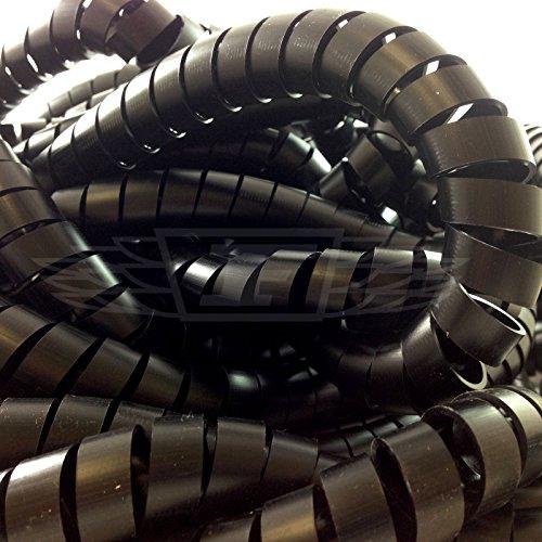 15.0mm - 50.0mm BLACK CABLE TIDY / SPIRAL WRAP / WIRE BINDING / ORGANISER / HEATSHRINK (100)