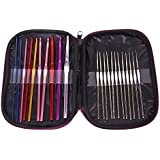 Generic 22Pcs Multicolor Aluminum Crochet Hooks Knitting Needles Set with Case-14007765MG