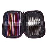 #10: Generic 22Pcs Multicolor Aluminum Crochet Hooks Knitting Needles Set with Case-14007765MG