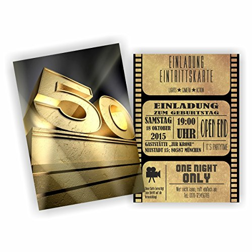 (Einladung BLOCKBUSTER I KINO FILM THEATER zum 50. Geburtstag (10 Stück))