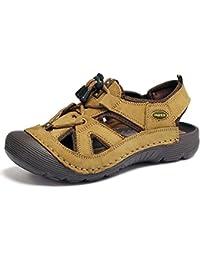 Onfly Hombres Chicos Dedo del pie cerrado Cuero Casual Sandalias Zapatillas Antideslizante Respirable Para caminar Al aire libre Sandalias Zapatos de agua Zapatillas de deporte ocasionales Playa Zapatos San , khaki , 44