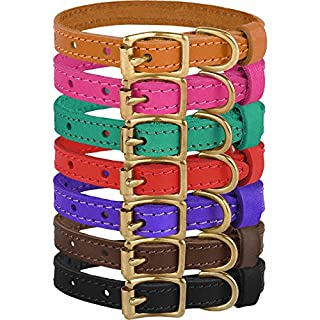 BronzeDog Leather Cat Collar with Brass Buckle Adjustable Small Pet Collars for Kitten Black Brown Pink Purple Red Turquoise (Neck Size 9