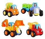 Zooawa Mini Auto Giocattoli, 4 Pezzi Spingi e Vai in Auto Giocattoli di Veicoli di Costruzione Camion per Bambini, Spingere Trattore, Bulldozer, Camion Betoniera, Dumper - Colorato