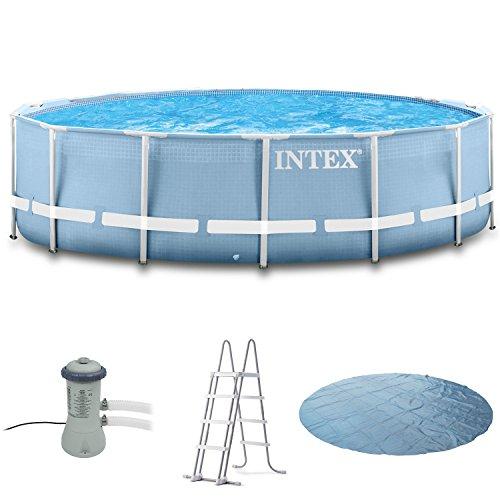 Intex 366x91 Schwimmbecken mit Filterpumpe, Sicherheitsleiter, Solarplane,Anschlussset für Pool Schwimmbad Frame Metal Stahlwand