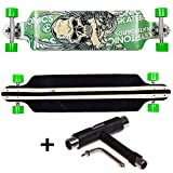 FunTomia® Longboard Skateboard Drop Through Cruiser Komplettboard mit Mach1® ABEC-11 High Speed Kugellager T-Tool (Modell Drop Down2 - Farbe Grün Totenkopf + T-Tool)