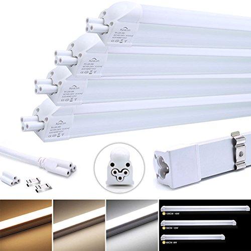 Preisvergleich Produktbild 4 Stü LED Leuchtstofflampe komplett Set, Auralum T5 G5 120CM lang 16W 1550LM recycelbare Röhre Leuchtstoffröhre mit Fassung, für Tandem-Betrieb geeignet, Energiesparlampe in warmweiß (2800-3200K), 96* SMD 2835, Material aus Aluminium und PC
