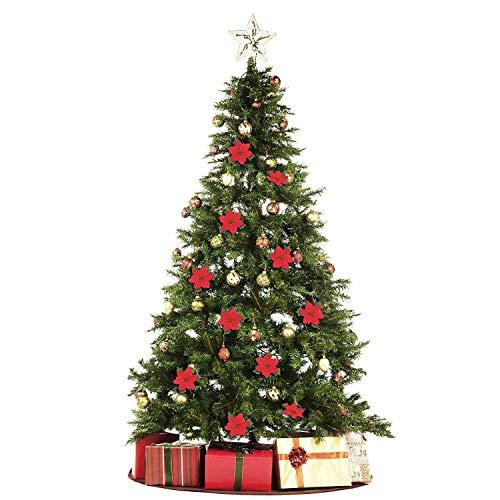 HMILYDYK Weihnachtsbaum-Ornamente 20,3 cm rote Weihnachtsstern Blumen Festival-Dekoration, 100 Stück