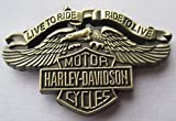 Broche en métal émaillé Laiton Antique Harley Davidson Live to Ride