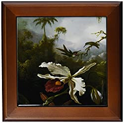 3dRose ft_126474_1 Two Hummingbirds Above a White Orchid by Martin Johnson Heade Framed Tile, 8 by 8-Inch