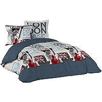 Bettwäsche London 240x220 Französische Bulldogge Bett Decke Übergröße  Bettgarnitur