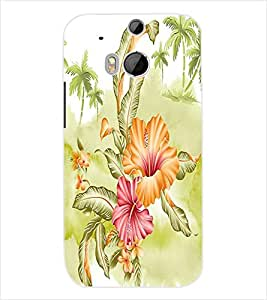 ColourCraft Floral Design Back Case Cover for HTC ONE M8