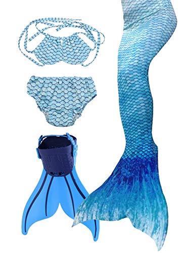 Flyhigh Meerjungfrauenflosse für Kinder Schwimmen mit,1948Blau,140