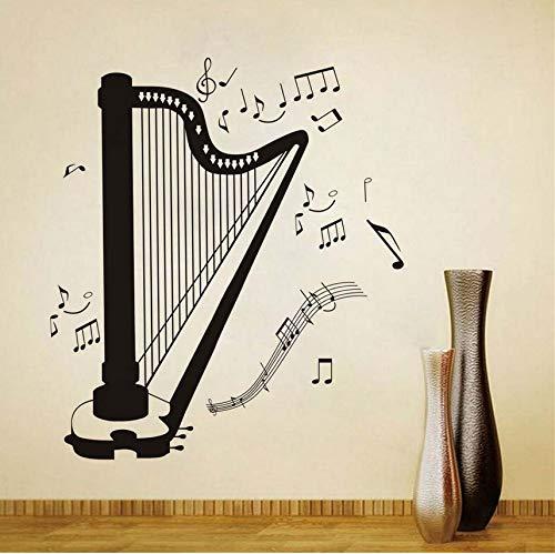 Wuyyii Selbstklebende Diy Wohnkultur Harfe Silhouette Alle Art Musiknote Wohnzimmer Musik Zimmer Dekorative Harfe Wandaufkleber Abnehmbar