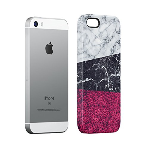 Black Striped Marble With Red Roses Apple iPhone 4 , iPhone 4S Snap-On Hard Plastic Protective Shell Case Cover Custodia Grey & Black Blocks