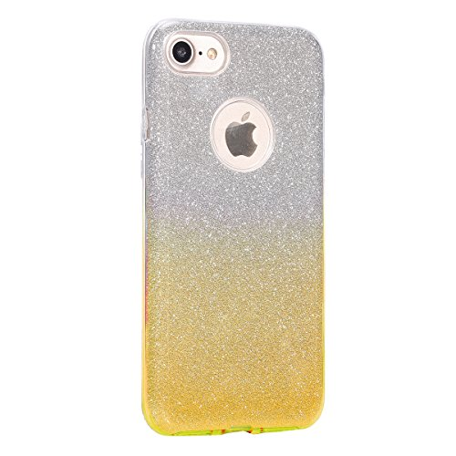 iPhone 7 2016 Hülle,iPhone 7 2016 Bling Hülle,JAWSEU Kreative 3 Layer Schutz Glitzer Silicone Tpu Tasche Handyhülle Soft Gel Crystal Clear Bling Shinning Glänzend Silikon Bumper Case Cover Schutzhülle Gradient Gold