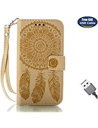 Funda Galaxy J3 2017,Funda Cover Galaxy J3 2017,Aireratze Slim Case de Estilo Billetera Carcasa Libro de Cuero,Carcasa PU Leather Con TPU Silicona Mandala Dream Catcher Flower Case Interna Suave [Función de Soporte] [Ranuras para Tarjetas y Billetera] [Cierre Magnético] para Samsung Galaxy J3 2017 (Dorado) (+ Cable USB)