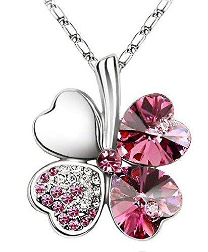 Zizi Cuore Quadrifoglio, collana, placcato oro bianco 18K, cristalli Swarovski, 7colori Hot Pink - Anniversario Oro Bianco Collana