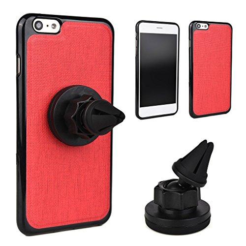 Kroo Étui universel de grille d'aération auto pour smartphone avec support magnétique solide pour Smartphone Apple iPhone 6Plus rouge - Rouge/noir rouge - Rouge/noir
