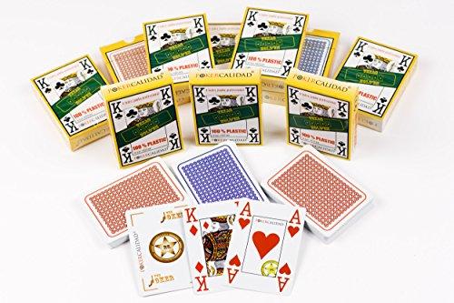 Poker Calidad Pack 10 barajas de cartas 100% plástico, impermeables, larga duración